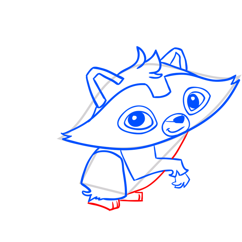 Learn easy to draw Raccoon step 08