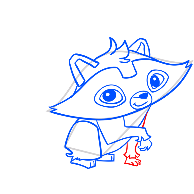 Learn easy to draw Raccoon step 09