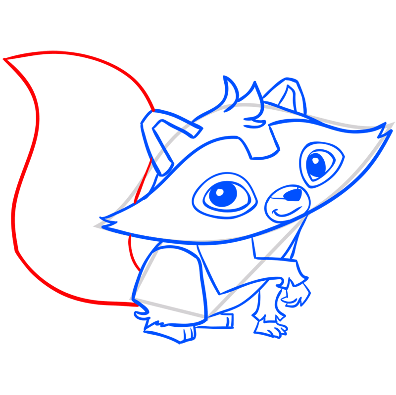 Learn easy to draw Raccoon step 10