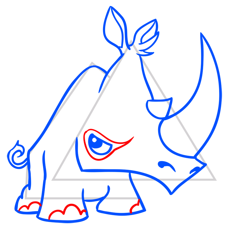 Learn easy to draw Rhino step 10
