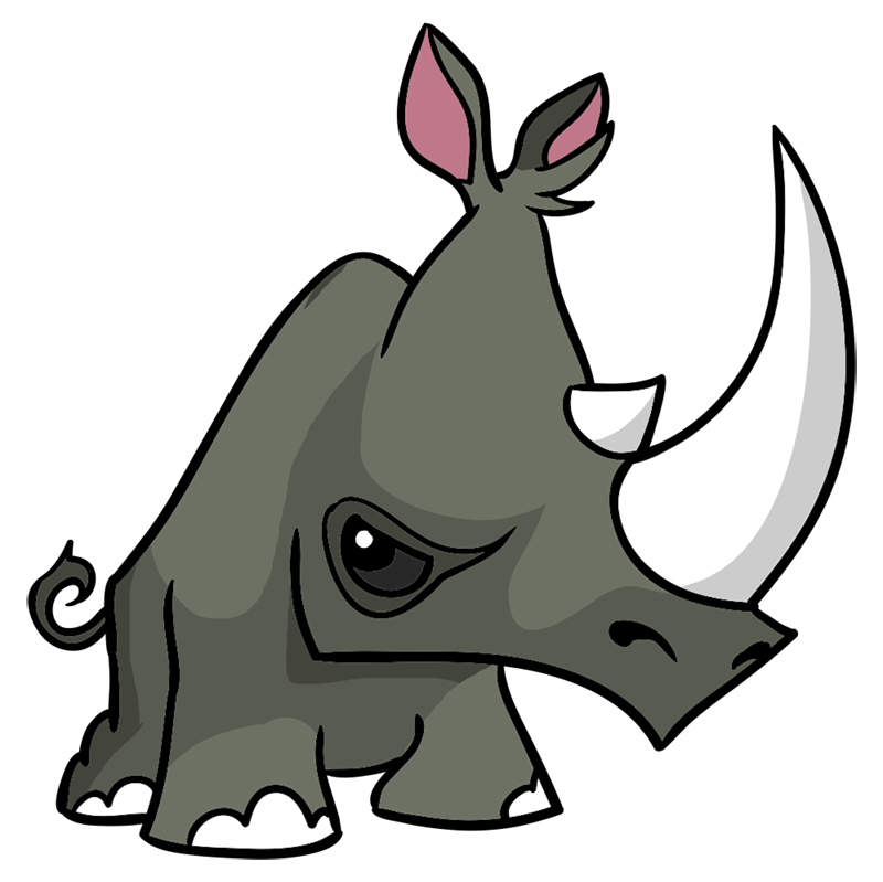 Learn easy to draw Rhino step 12