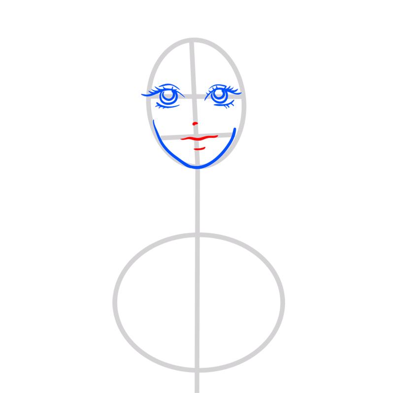 Learn easy to draw Scarlett Johansson step 04