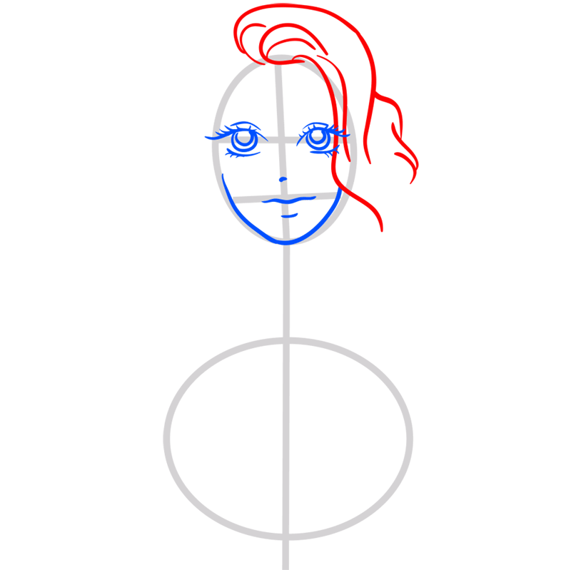 Learn easy to draw Scarlett Johansson step 05