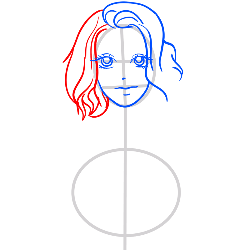 Learn easy to draw Scarlett Johansson step 06