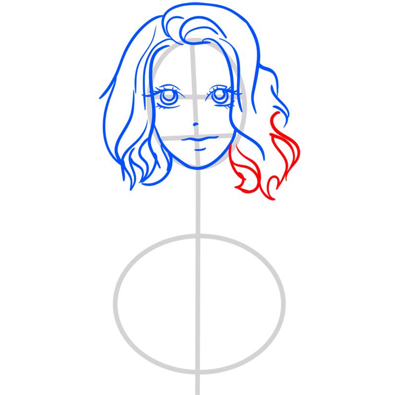 Learn easy to draw Scarlett Johansson step 07