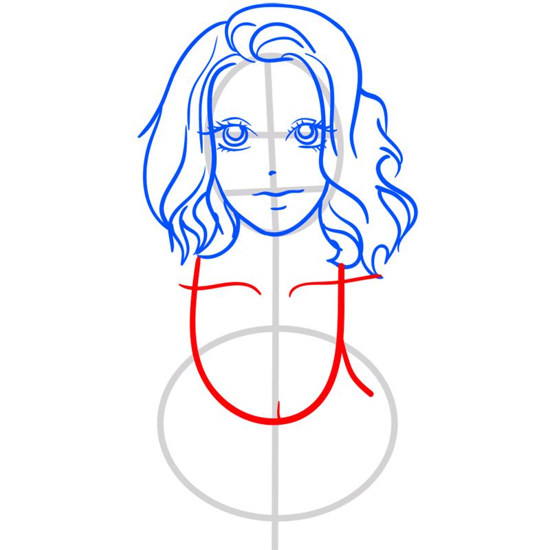 Learn easy to draw Scarlett Johansson step 08