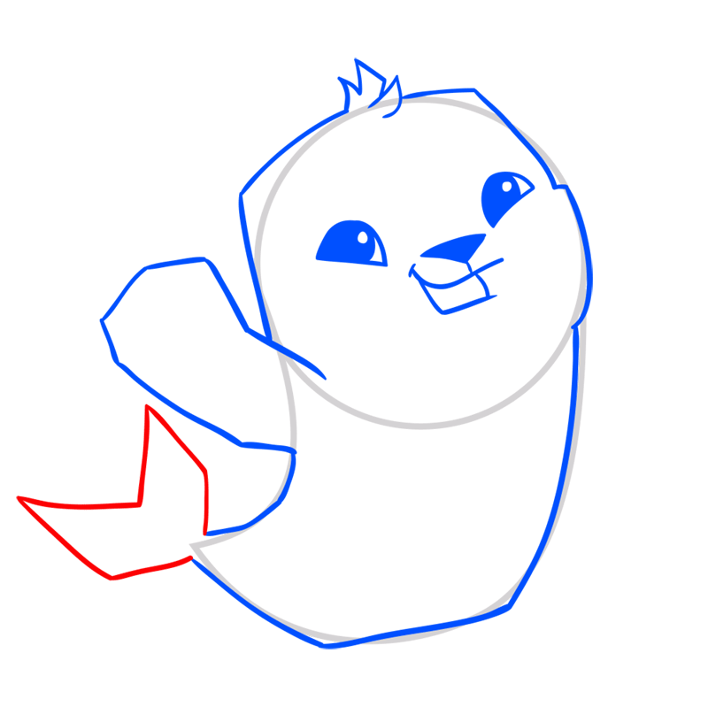 Learn easy to draw Seal step 07