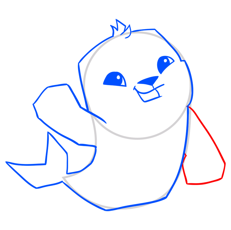 Learn easy to draw Seal step 08