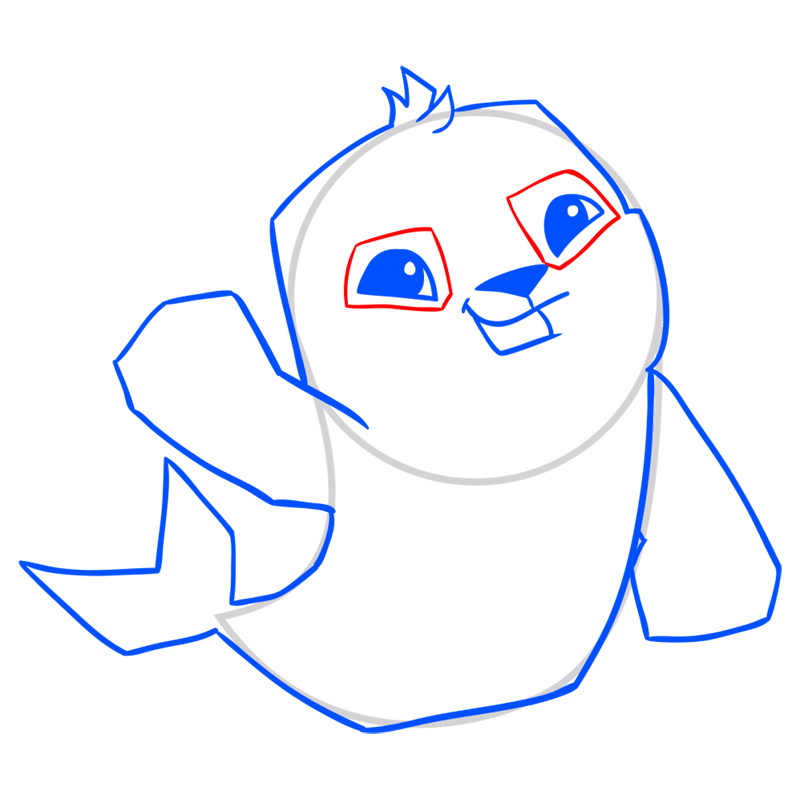 Learn easy to draw Seal step 09