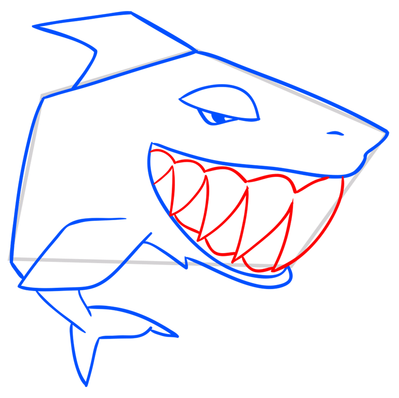 Learn easy to draw Shark step 08
