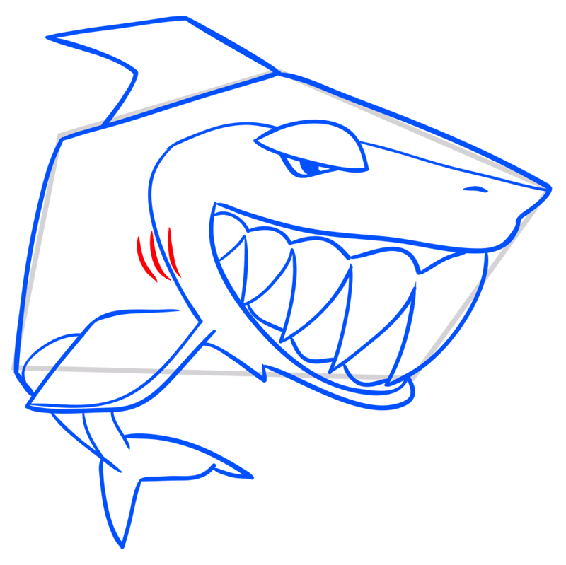 Learn easy to draw Shark step 10