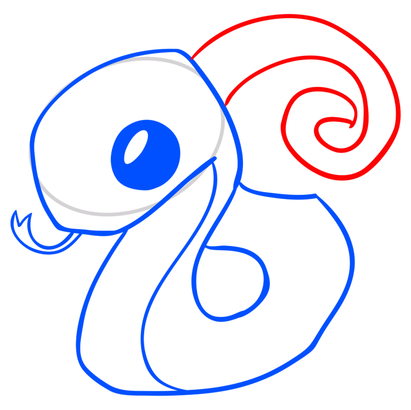Learn easy to draw Snake step 07