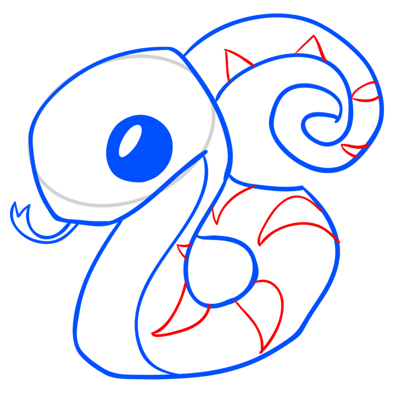 Learn easy to draw Snake step 08