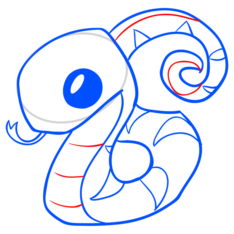 Learn easy to draw Snake step 09
