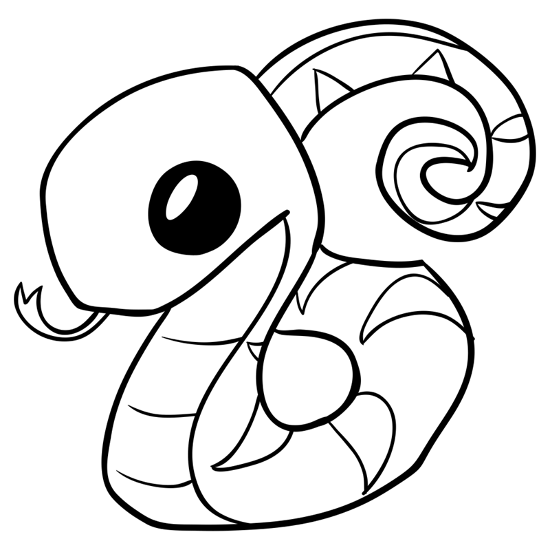 Learn easy to draw Snake step 10