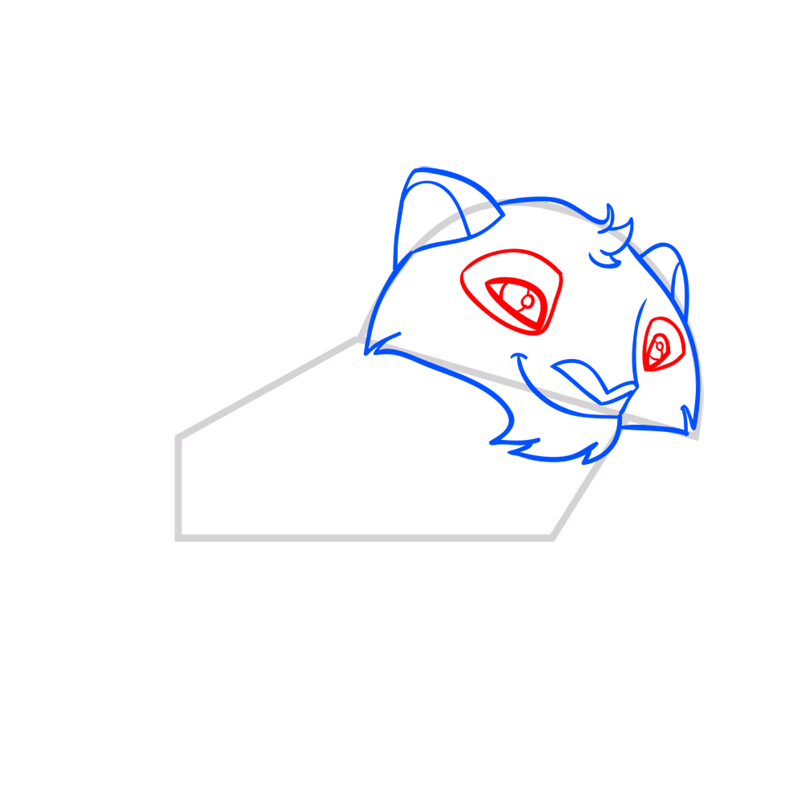 Learn easy to draw Snow Leopard step 05