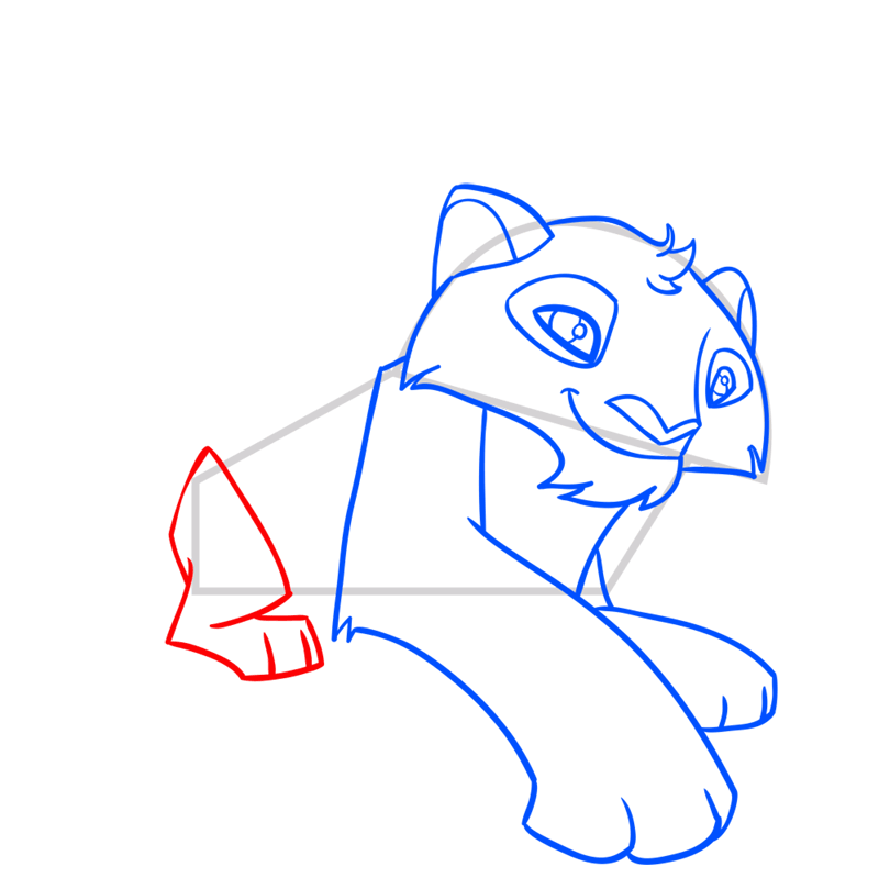 Learn easy to draw Snow Leopard step 08