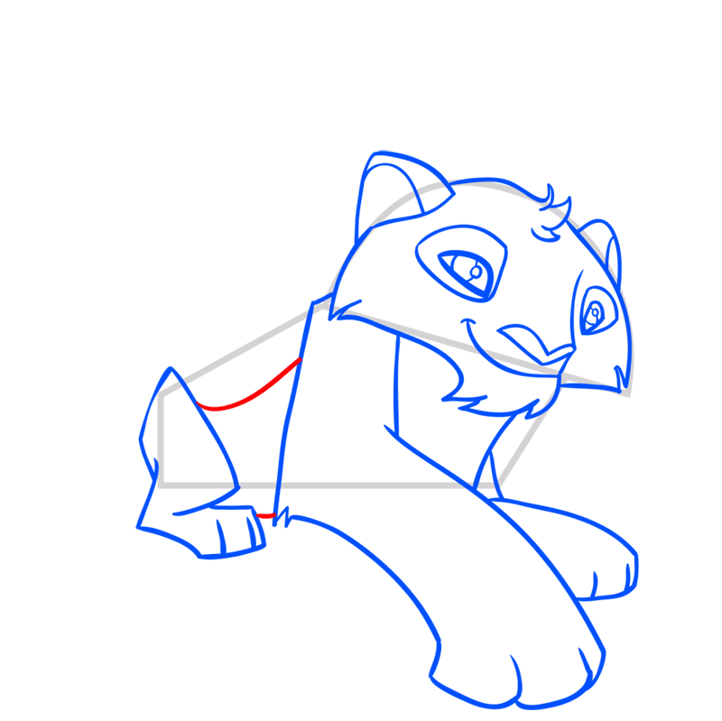 Learn easy to draw Snow Leopard step 09