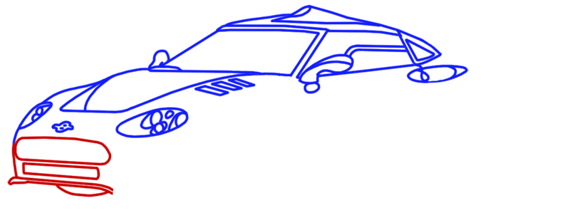 Learn easy to draw Spyker C8 step 08