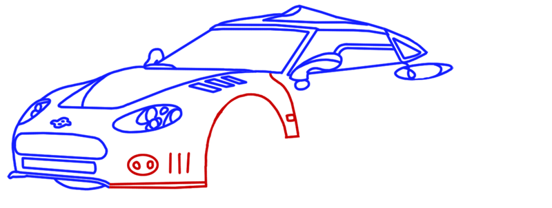 Learn easy to draw Spyker C8 step 09