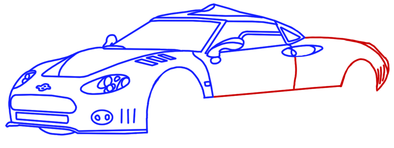 Learn easy to draw Spyker C8 step 10