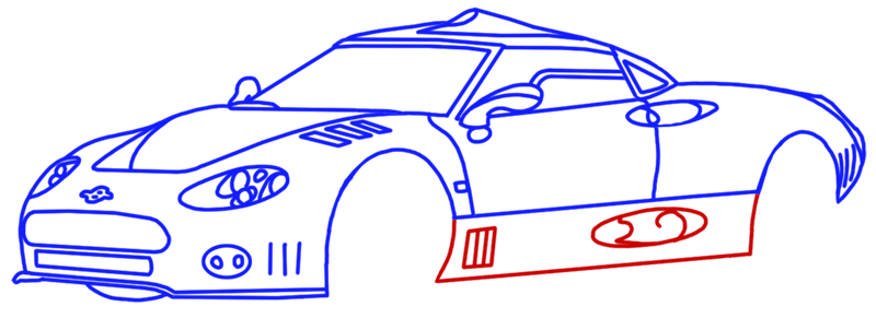 Learn easy to draw Spyker C8 step 11