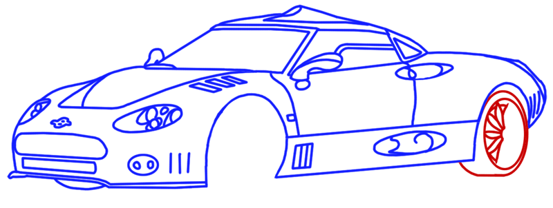 Learn easy to draw Spyker C8 step 12
