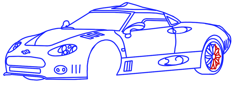 Learn easy to draw Spyker C8 step 13