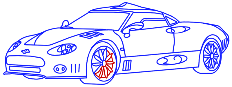 Learn easy to draw Spyker C8 step 15