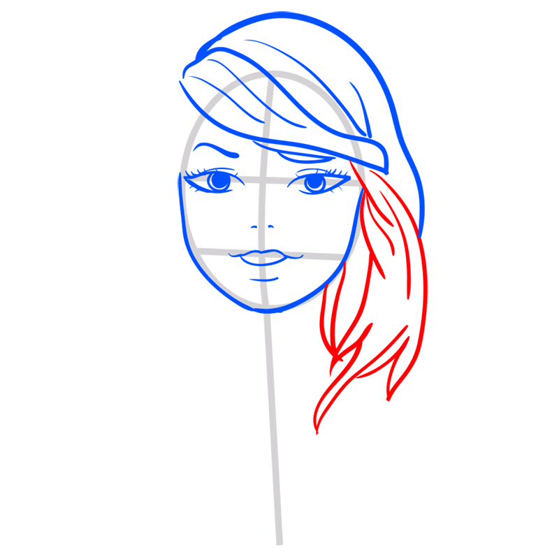 Learn easy to draw Taylor Swift step 06