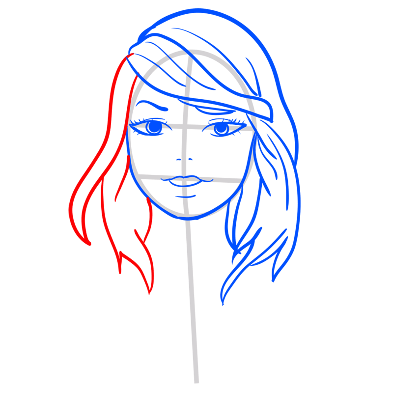 Learn easy to draw Taylor Swift step 07