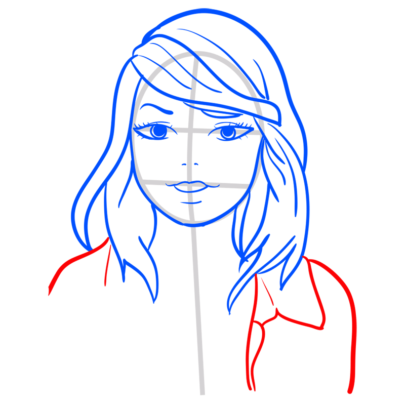 Learn easy to draw Taylor Swift step 08
