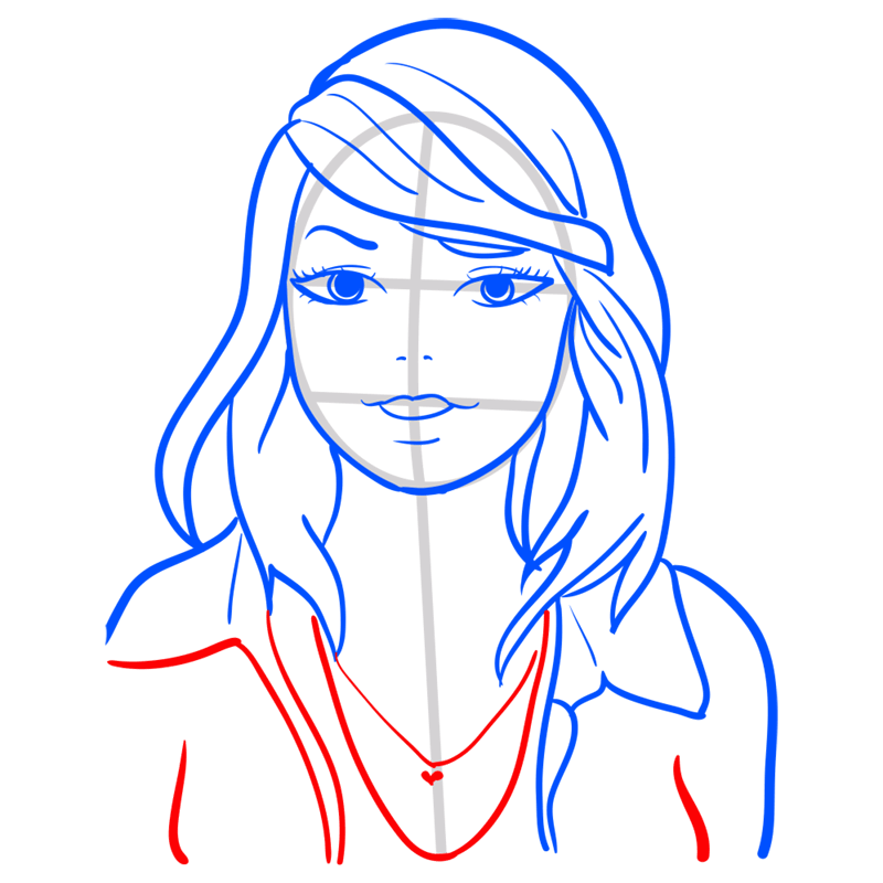 Learn easy to draw Taylor Swift step 09