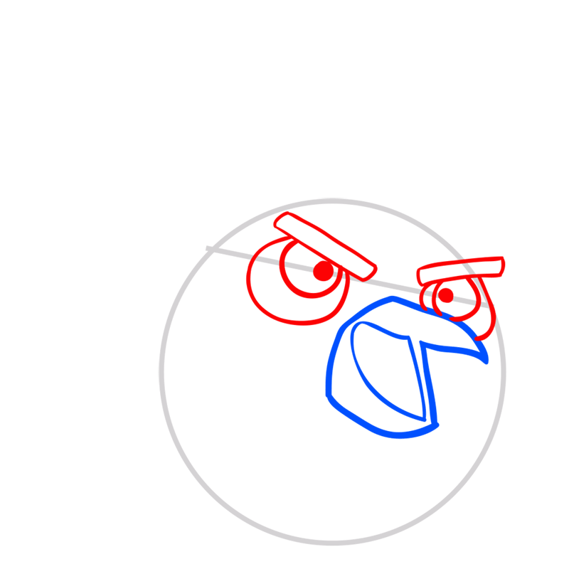 Learn easy to draw The Santa Bomb Bird step 03