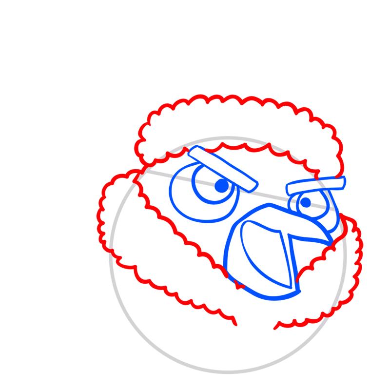 Learn easy to draw The Santa Bomb Bird step 04