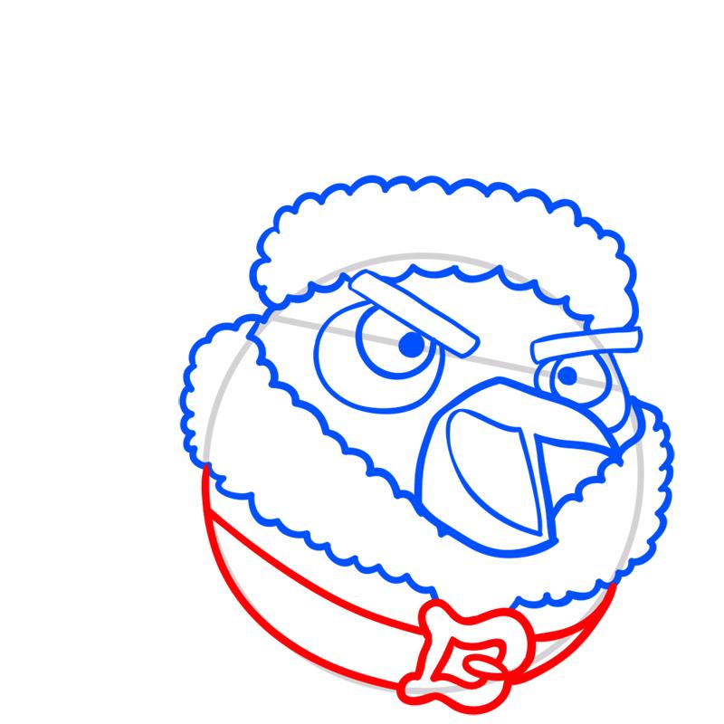 Learn easy to draw The Santa Bomb Bird step 05
