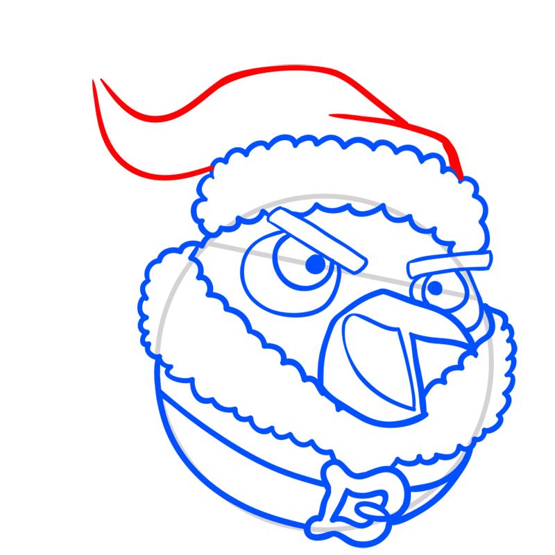 Learn easy to draw The Santa Bomb Bird step 06
