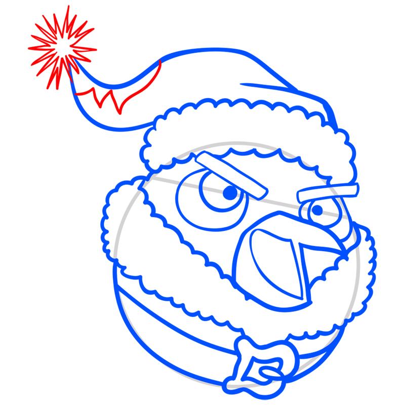 Learn easy to draw The Santa Bomb Bird step 07