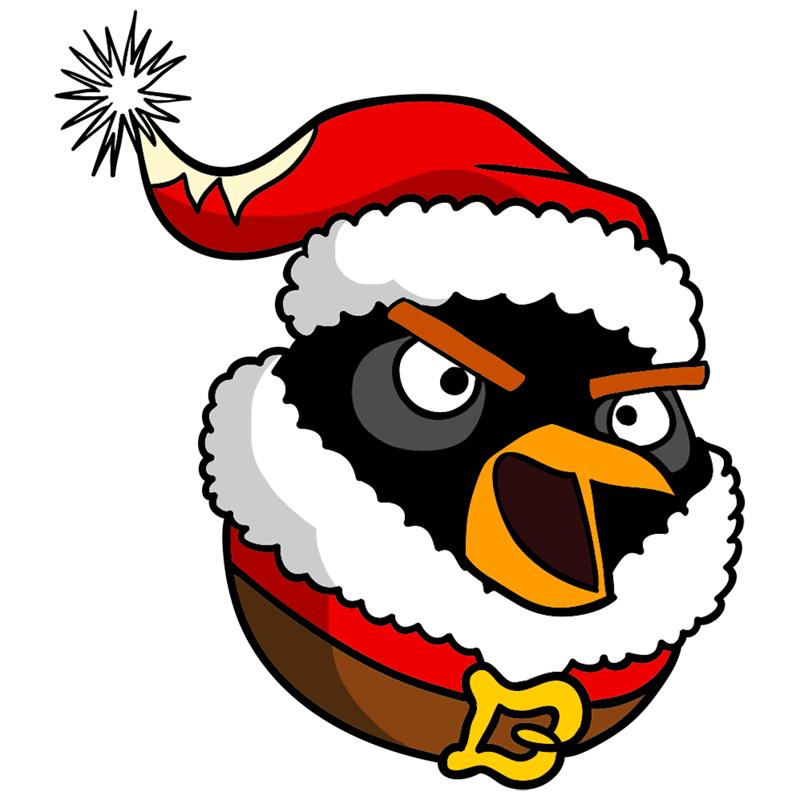 Learn easy to draw The Santa Bomb Bird step 09