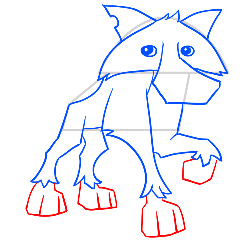 Learn easy to draw Wolf step 10