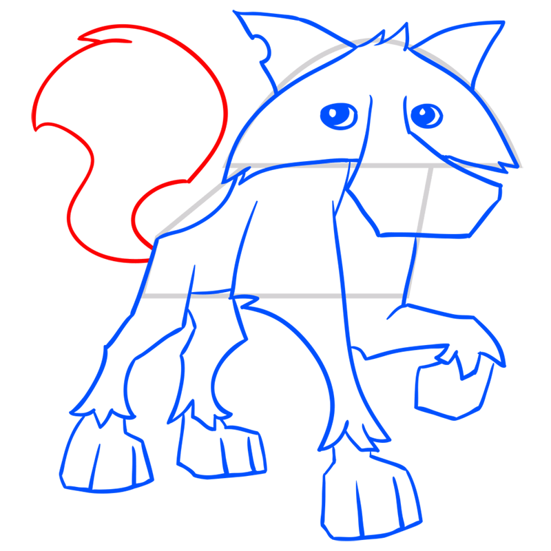 Learn easy to draw Wolf step 11