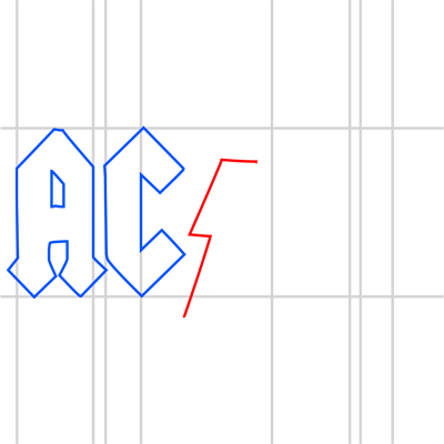Learn easy to draw ac dc step 08