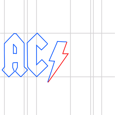 Learn easy to draw ac dc step 09