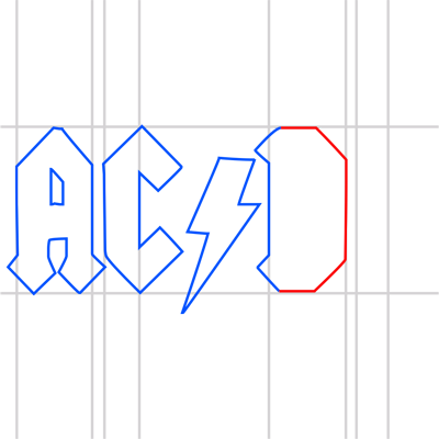 Learn easy to draw ac dc step 11