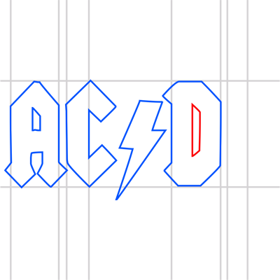 Learn easy to draw ac dc step 12