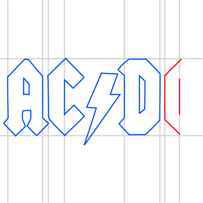 Learn easy to draw ac dc step 13