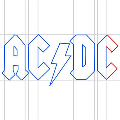 Learn easy to draw ac dc step 14