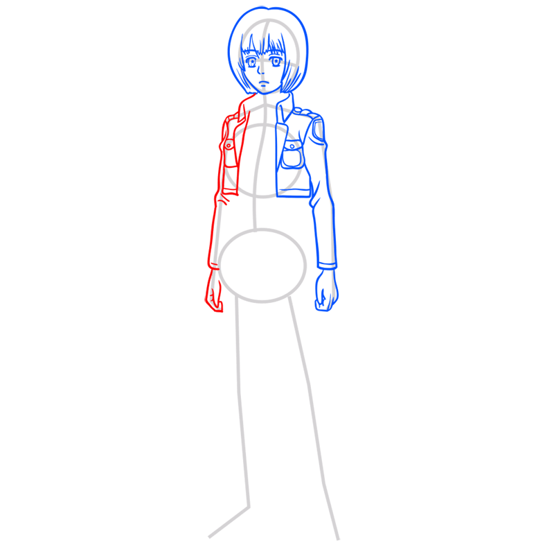 Learn easy to draw armin arlert step 05