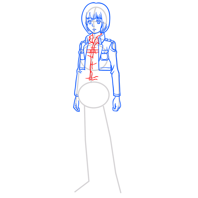 Learn easy to draw armin arlert step 06