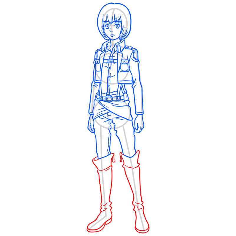 Learn easy to draw armin arlert step 09